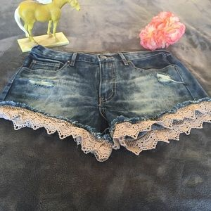 Free People Denim with Lace Shorts Size 27